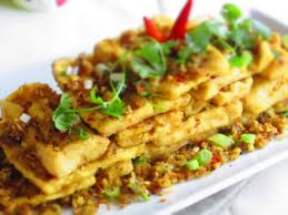 Fried tofu with chili is local favorite