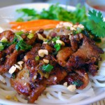 Rice vermicelli with roasted pork and anchovy fish sauce