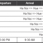 Bus Schedule from Ha Noi