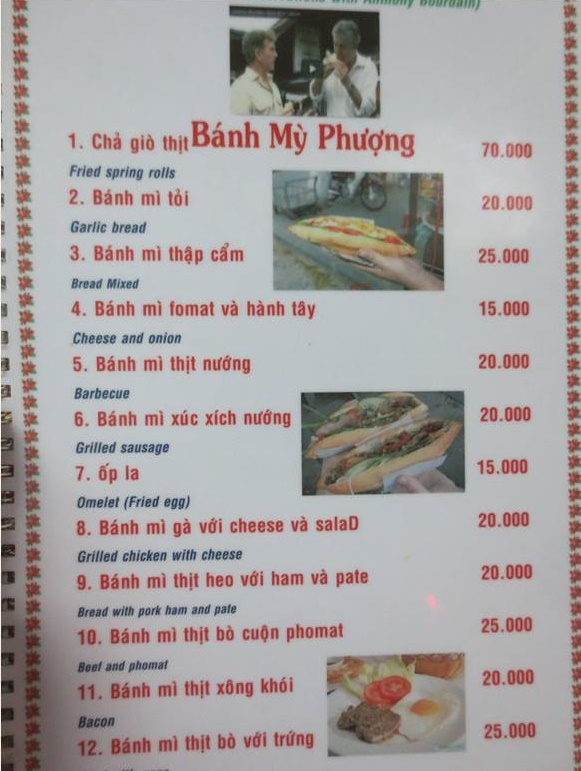 12 different flavors in banh mi Phuong's